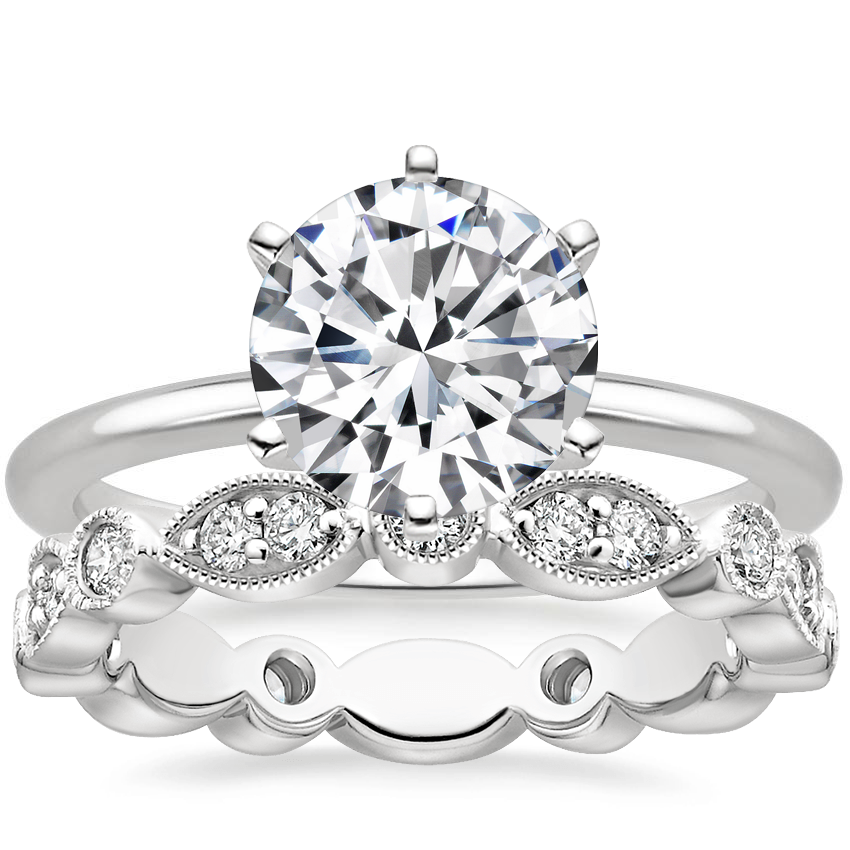 18K White Gold Six-Prong Petite Comfort Fit Ring with Luxe Tiara Eternity Diamond Ring (1/2 ct. tw.)