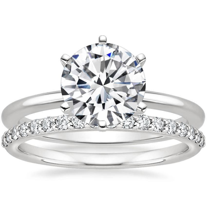 18K White Gold Six-Prong Petite Comfort Fit Ring with Petite Shared Prong Diamond Ring (1/4 ct. tw.)
