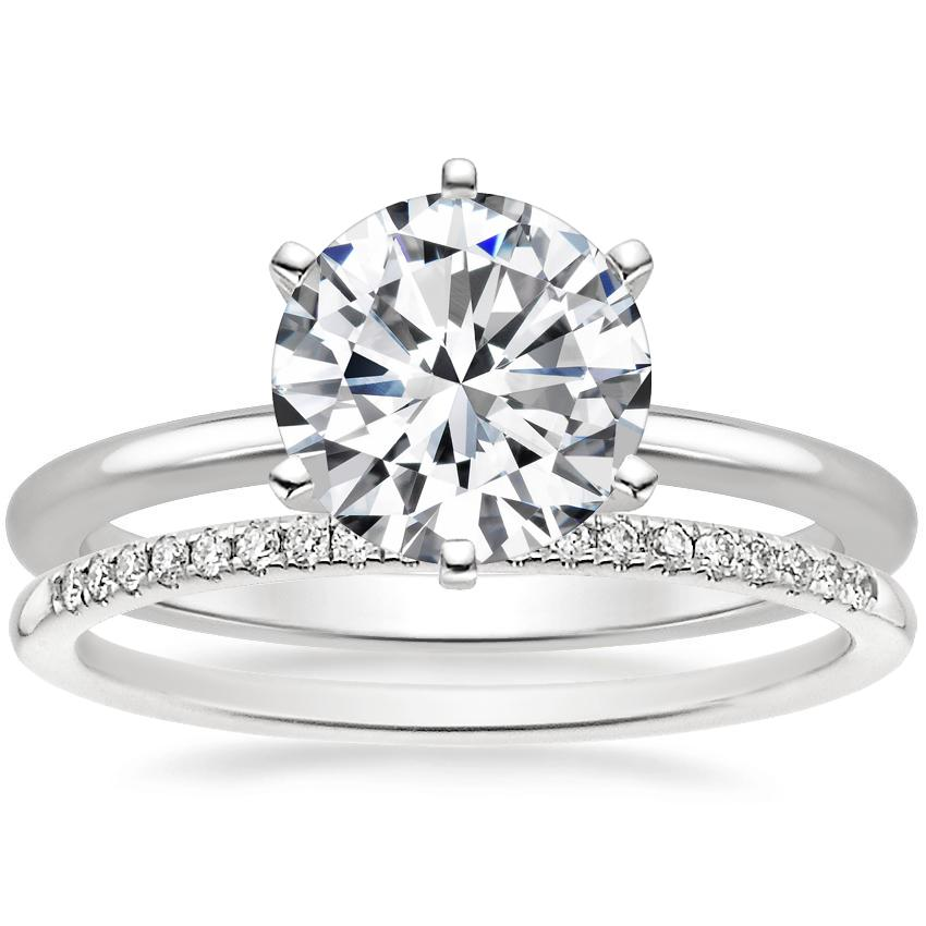 Platinum Six-Prong Petite Comfort Fit Ring with Whisper Diamond Ring (1/10 ct. tw.)