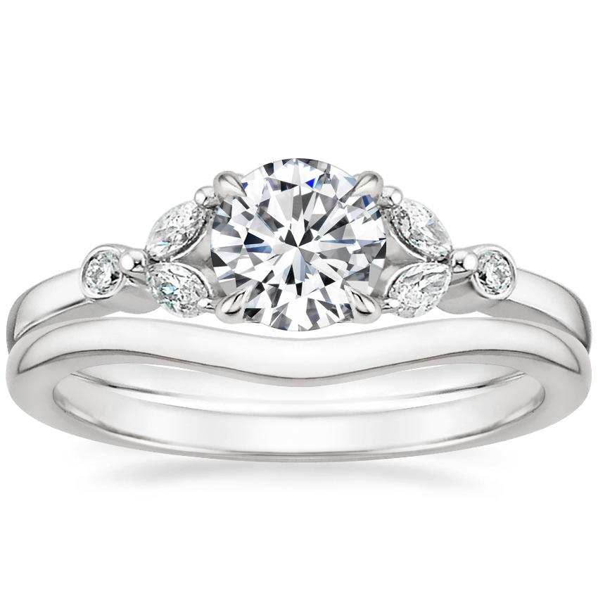 18K White Gold Verbena Diamond Ring with Petite Curved Wedding Ring