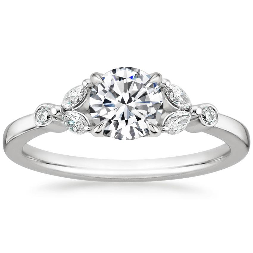 Round Vintage Floral Engagement Ring