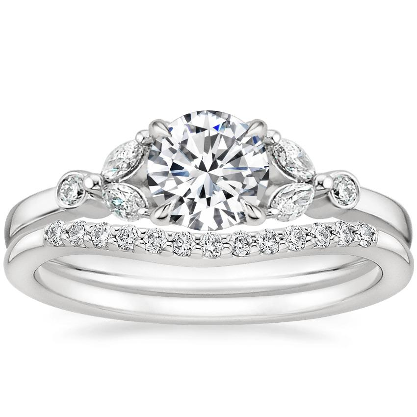 18K White Gold Verbena Diamond Ring with Petite Curved Diamond Ring