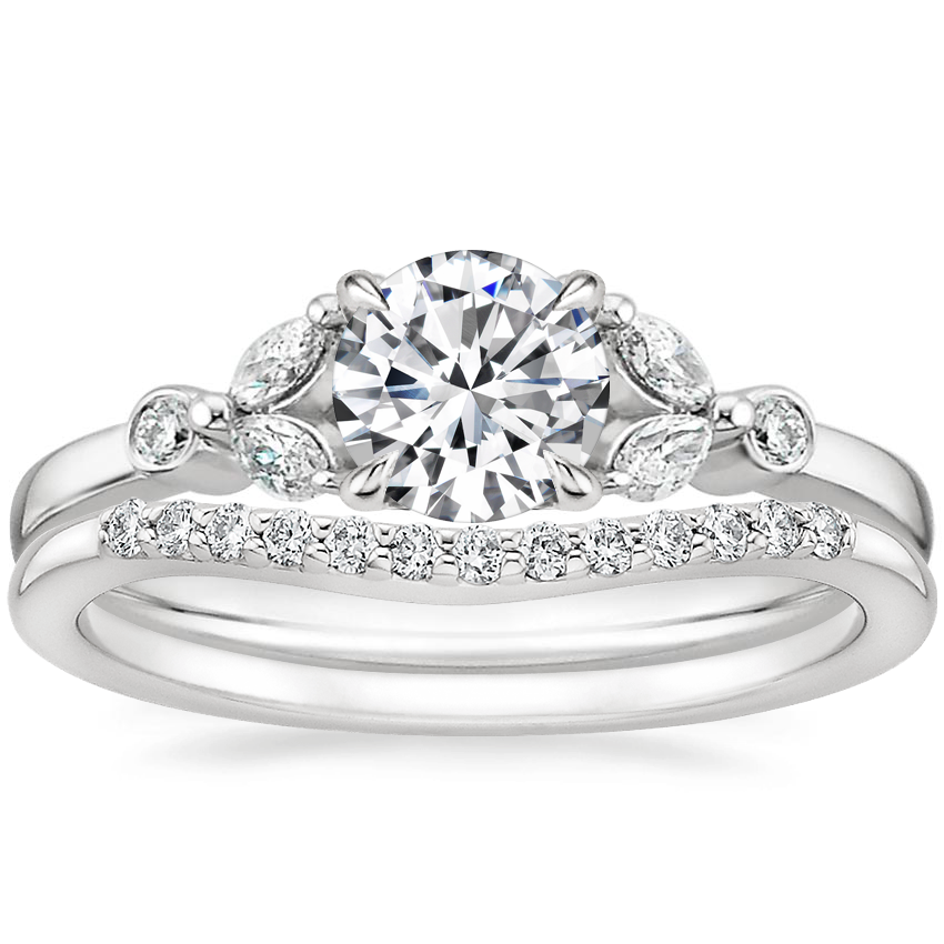 18K White Gold Verbena Diamond Ring with Petite Curved Diamond Ring (1/10 ct. tw.)