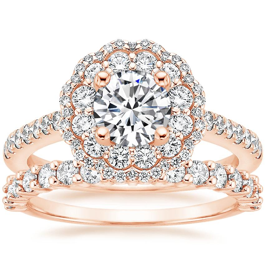 14K Rose Gold Rosa Diamond Ring with Shared Prong Diamond Ring (2/5 ct. tw.)