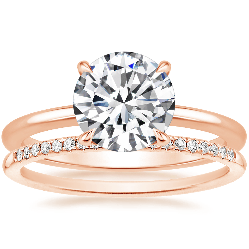 14K Rose Gold Petite Elodie Ring with Whisper Diamond Ring (1/10 ct. tw.)