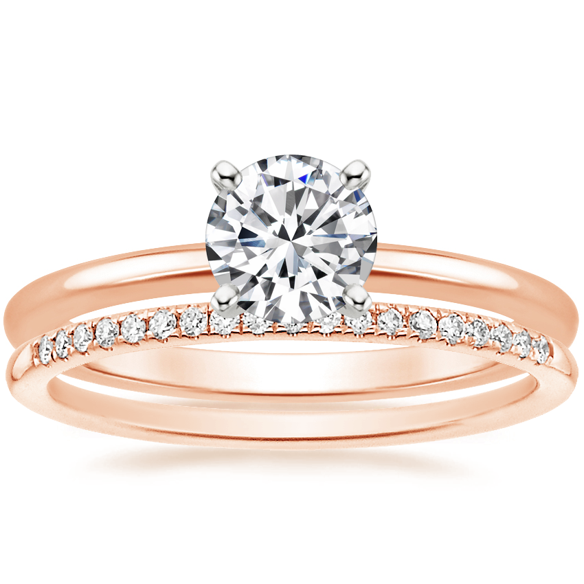 14K Rose Gold Four-Prong Petite Comfort Fit Ring with Whisper Diamond Ring (1/10 ct. tw.)