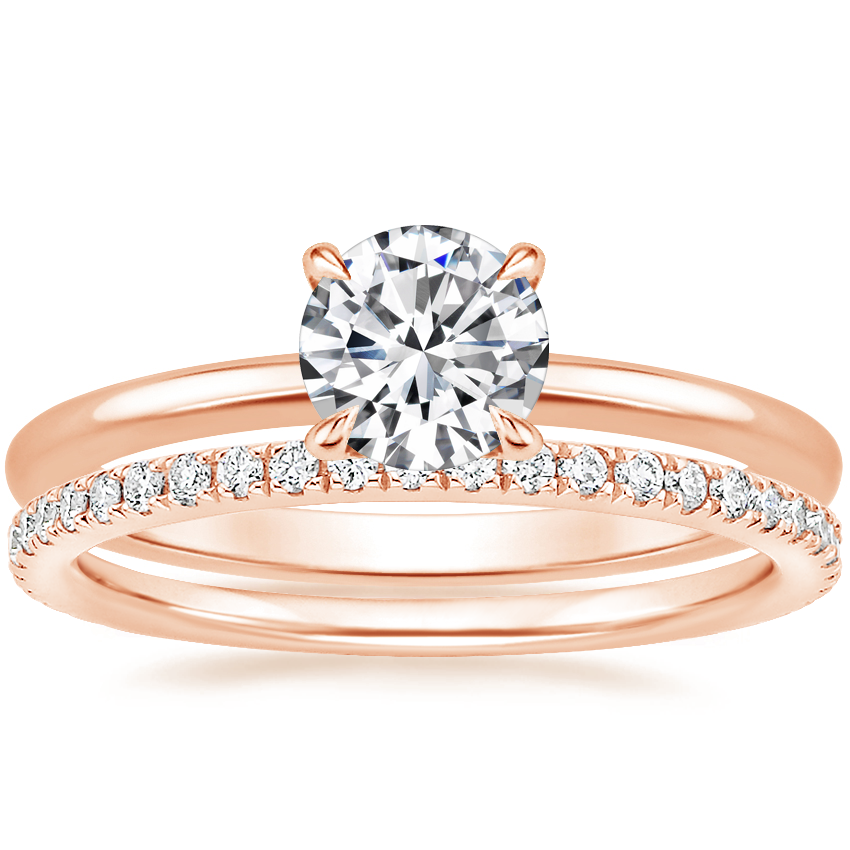 14K Rose Gold Petite Elodie Ring with Luxe Ballad Diamond Ring (1/4 ct. tw.)