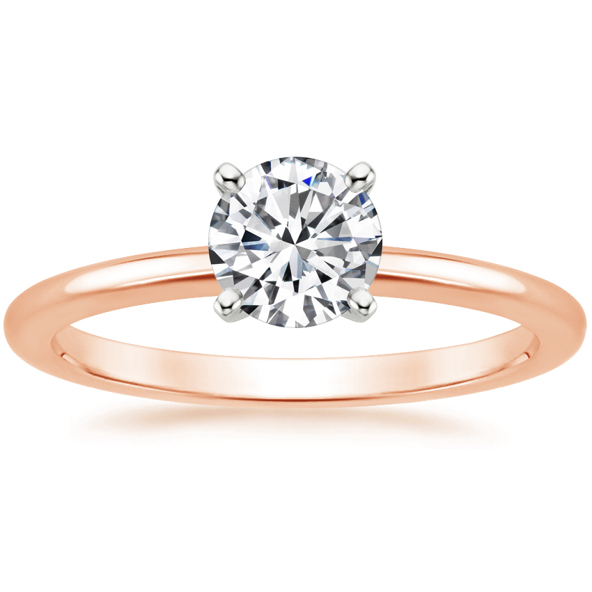 Round 14K Rose Gold Four-Prong Petite Comfort Fit Ring