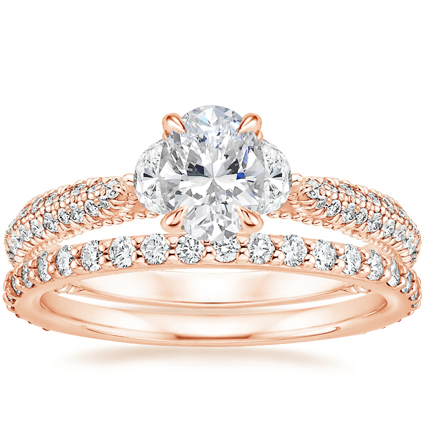 14K Rose Gold Rosemont Diamond Ring with Luxe Petite Shared Prong Diamond Ring (3/8 ct. tw.)
