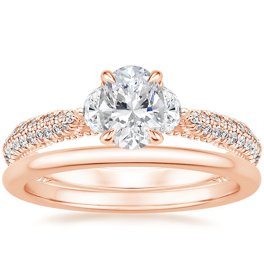14K Rose Gold Rosemont Diamond Ring with Petite Comfort Fit Wedding Ring