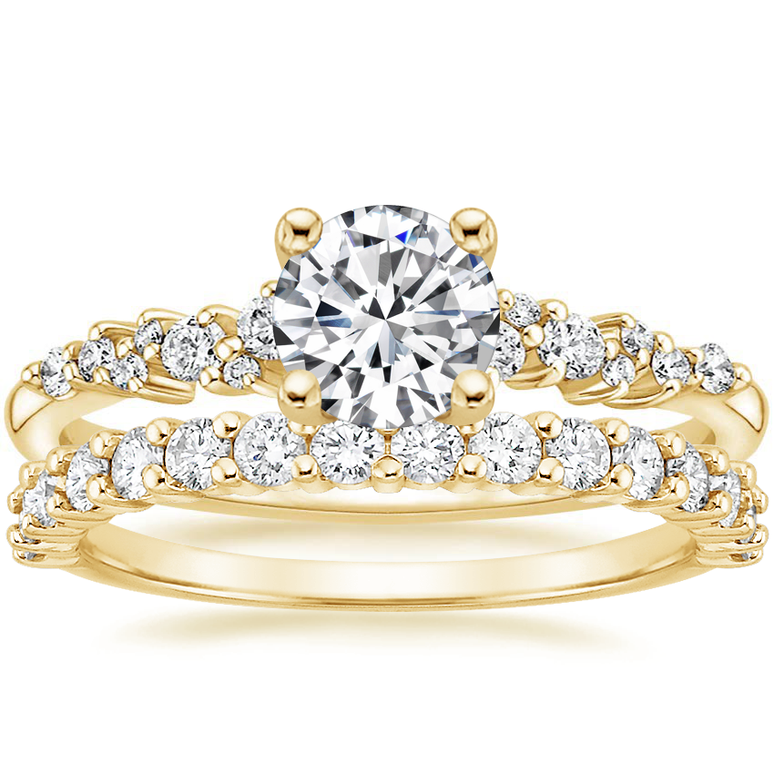 18K Yellow Gold Aurora Diamond Ring with Shared Prong Diamond Ring (2/5 ct. tw.)