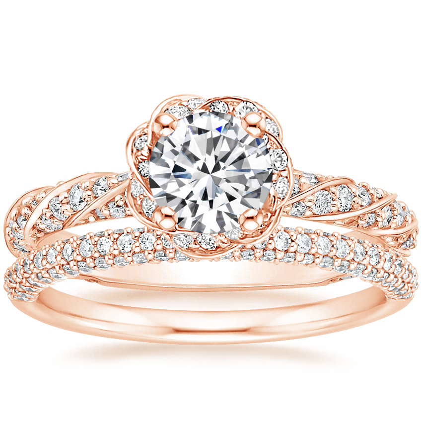 14K Rose Gold Cordoba Diamond Ring (5/8 ct. tw.) with Valencia Diamond Ring (1/3 ct. tw.)