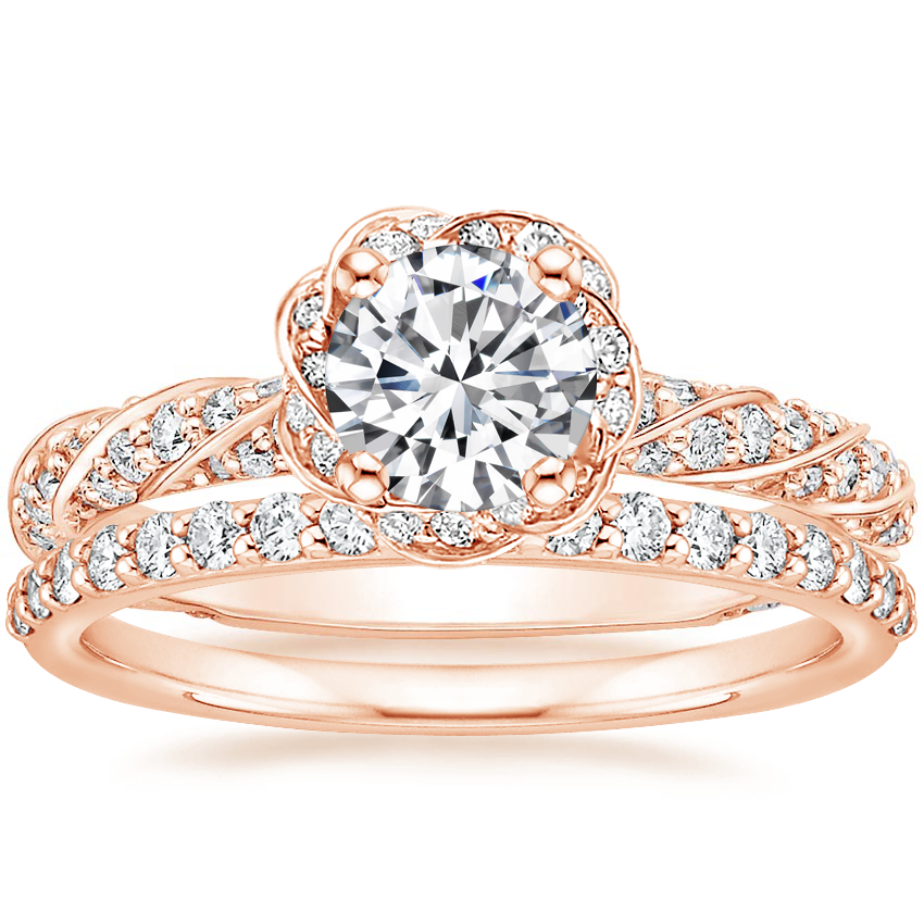 14K Rose Gold Cordoba Diamond Ring (5/8 ct. tw.) with Petite Shared Prong Diamond Ring (1/4 ct. tw.)