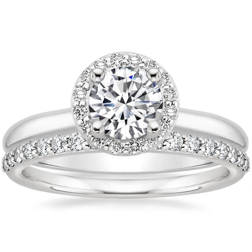 18K White Gold Halo Diamond Ring (1/8 ct. tw.) with Petite Shared Prong Diamond Ring (1/4 ct. tw.)