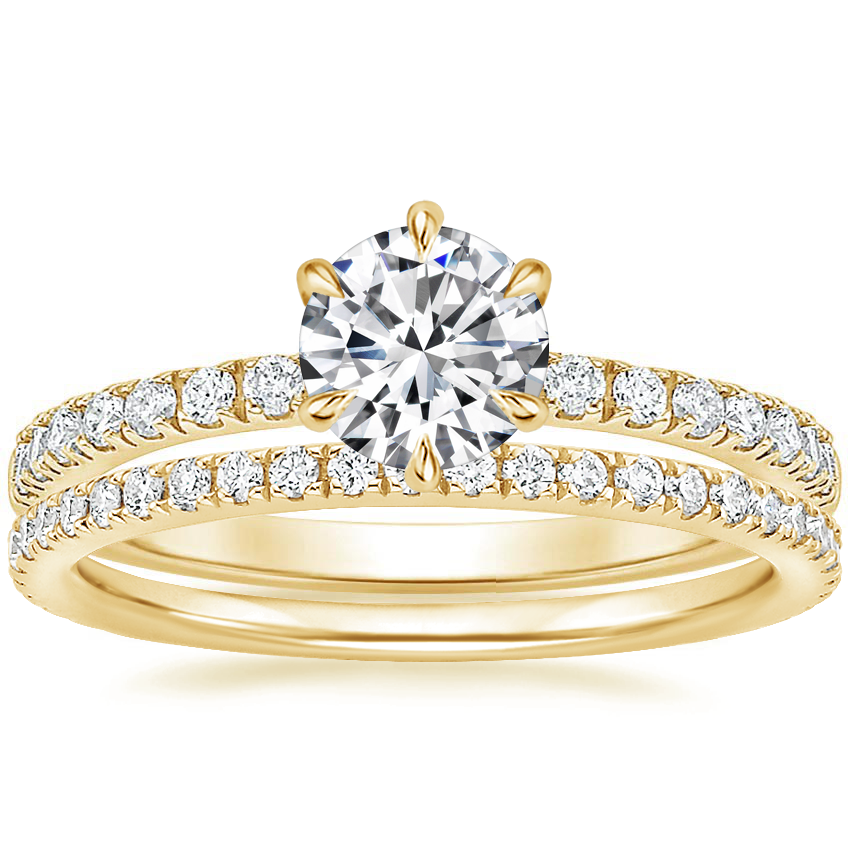 18K Yellow Gold Poppy Diamond Ring (1/6 ct. tw.) with Luxe Ballad Diamond Ring (1/4 ct. tw.)
