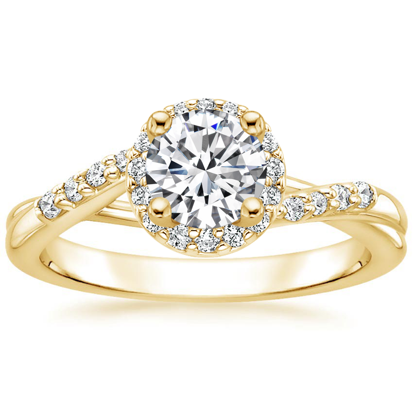 Round 18K Yellow Gold Chamise Halo Diamond Ring (1/5 ct. tw.)