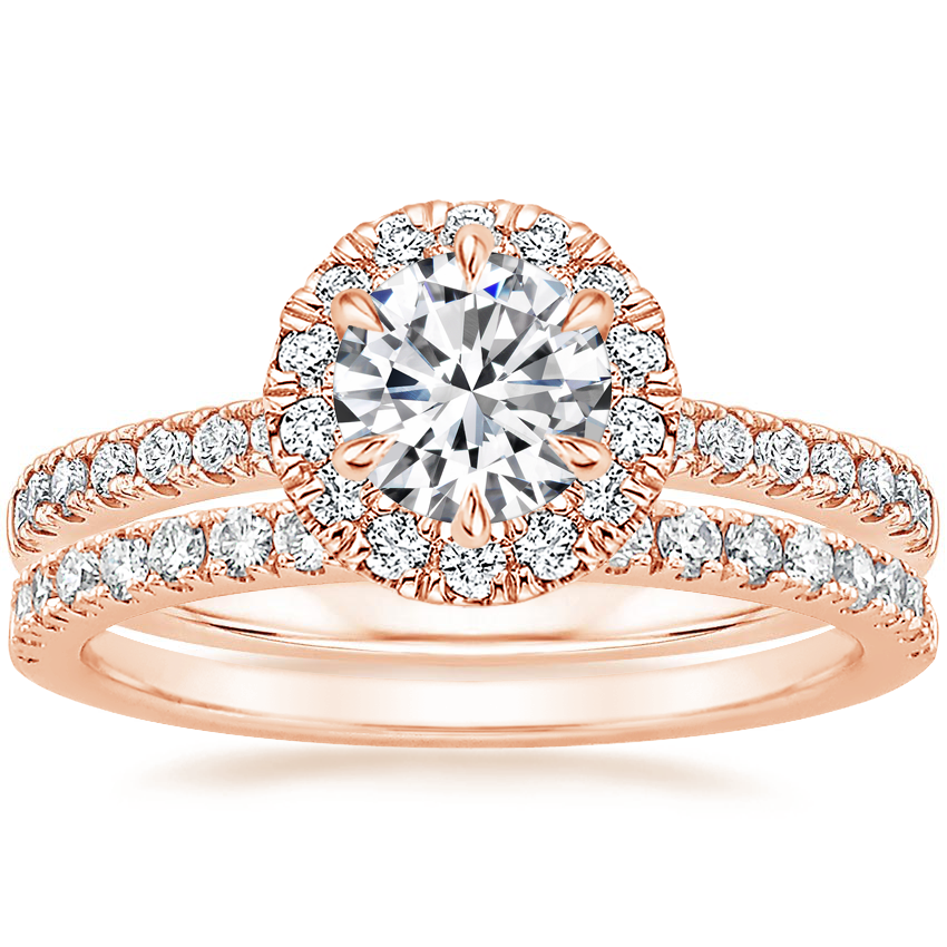 14K Rose Gold Poppy Halo Diamond Ring (1/3 ct. tw.) with Bliss Diamond Ring (1/5 ct. tw.)
