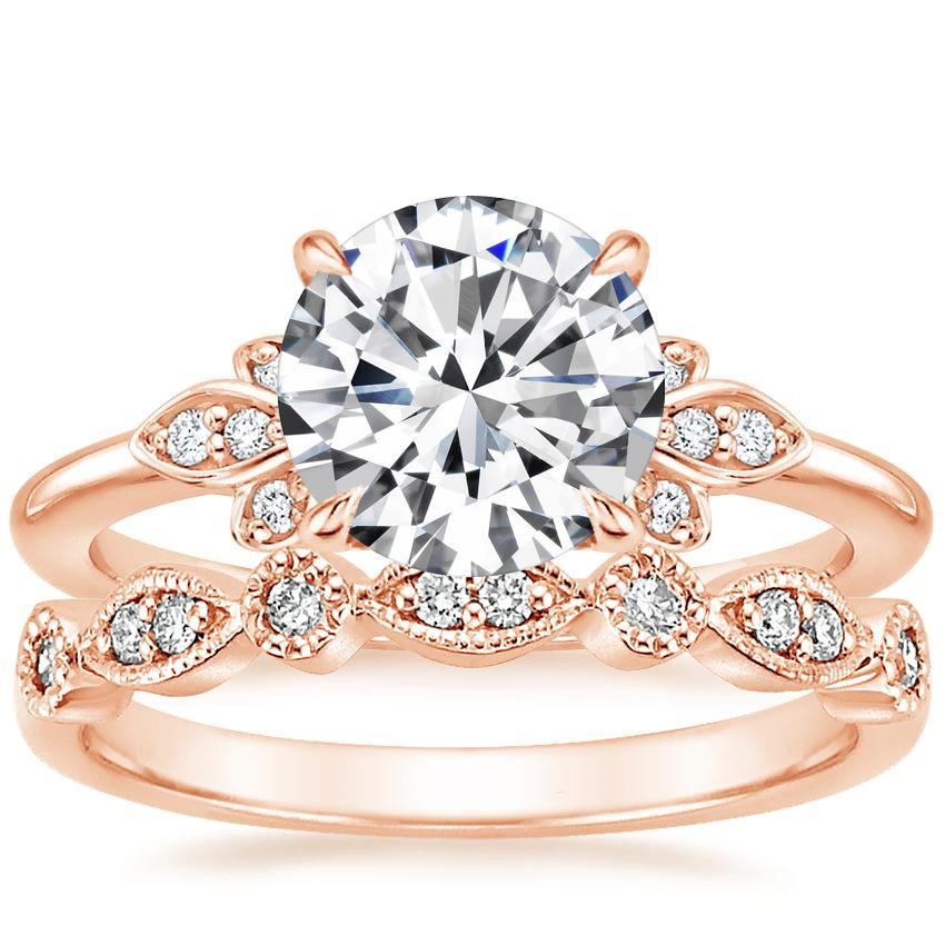 14K Rose Gold Fiorella Diamond Ring with Tiara Diamond Ring (1/10 ct. tw.)