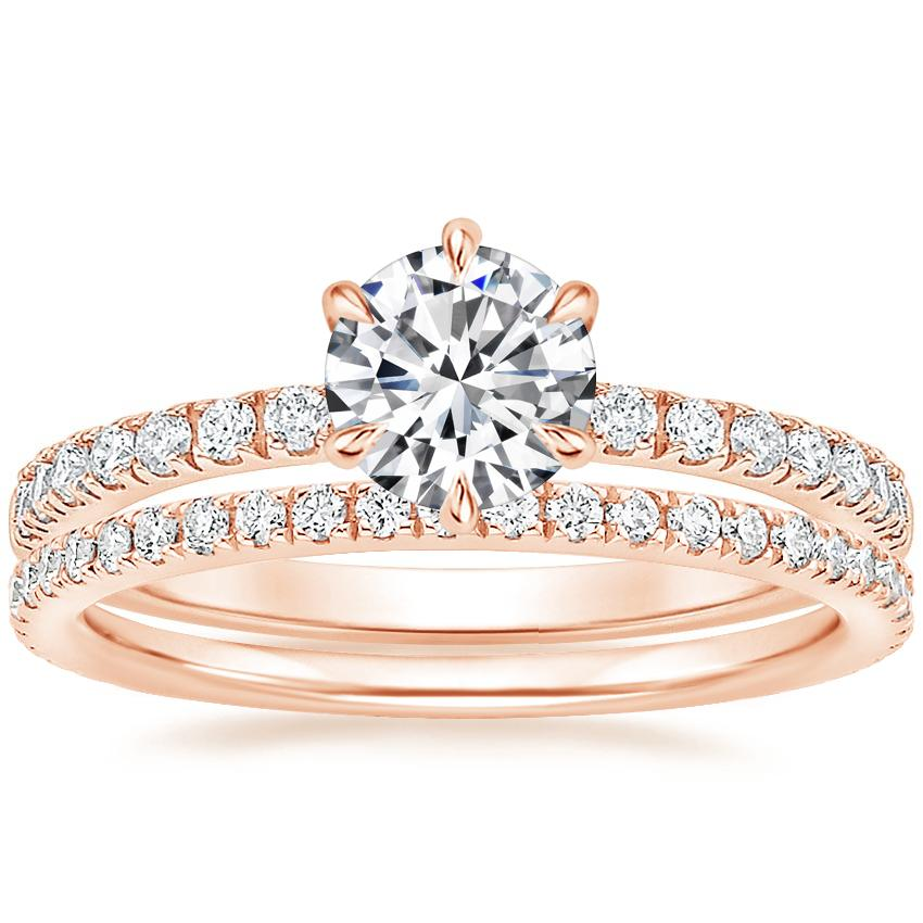 14K Rose Gold Poppy Diamond Ring (1/6 ct. tw.) with Luxe Ballad Diamond Ring (1/4 ct. tw.)