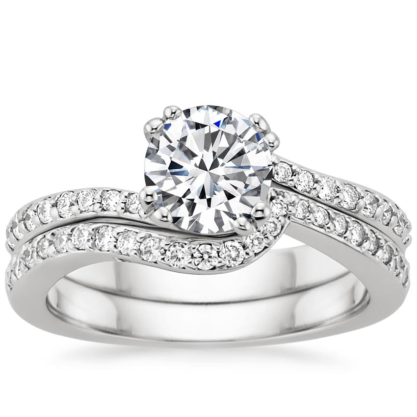 Platinum Seacrest with Diamond Accents Matched Set (1/3 ct. tw.), top view