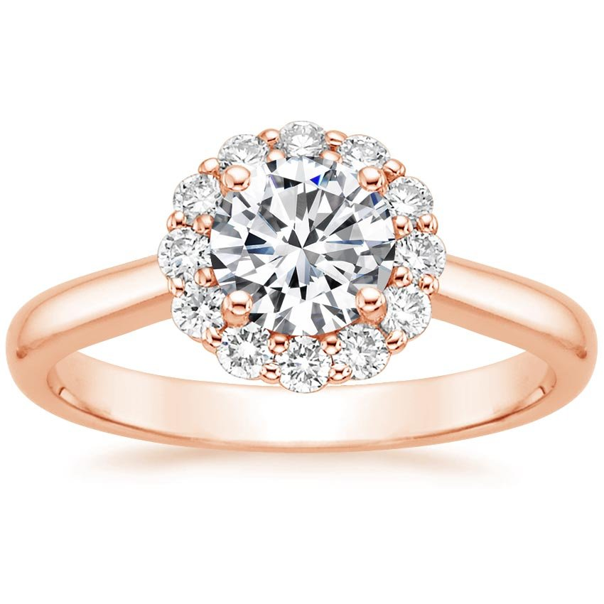 14K Rose Gold Lotus Flower Diamond Ring (1/3 ct. tw.), top view