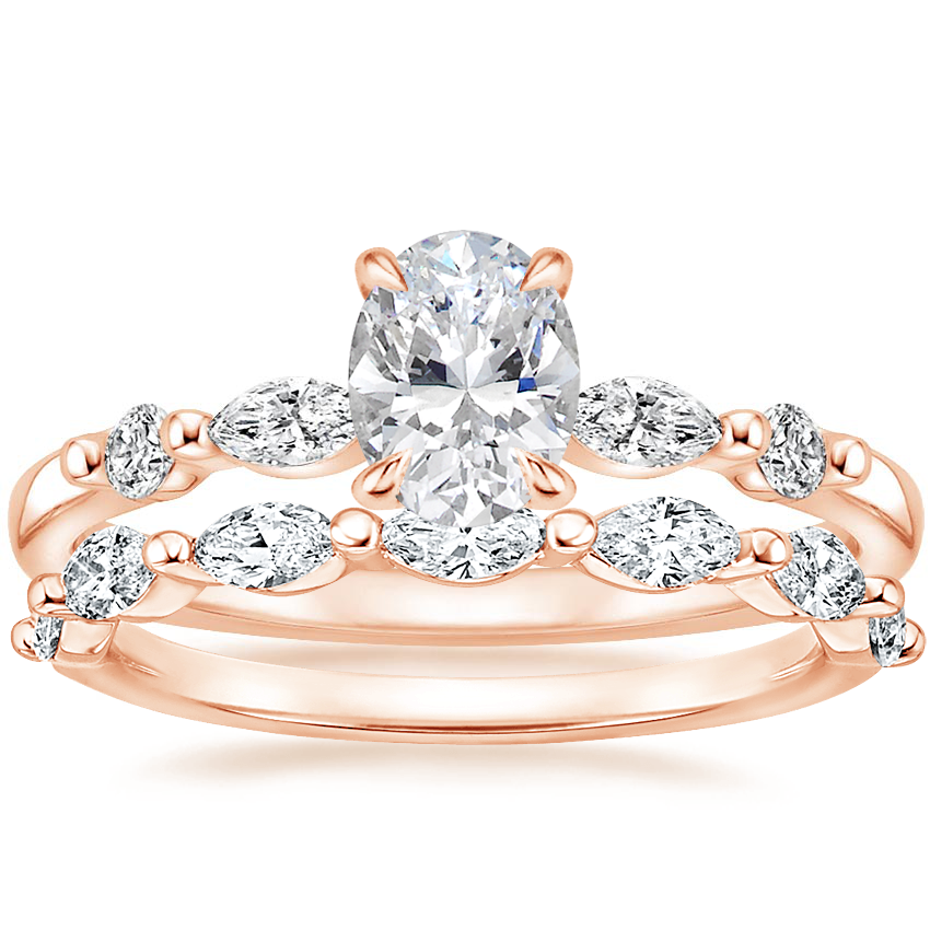 14K Rose Gold Petite Versailles Diamond Ring (1/6 ct. tw.) with Joelle Diamond Ring