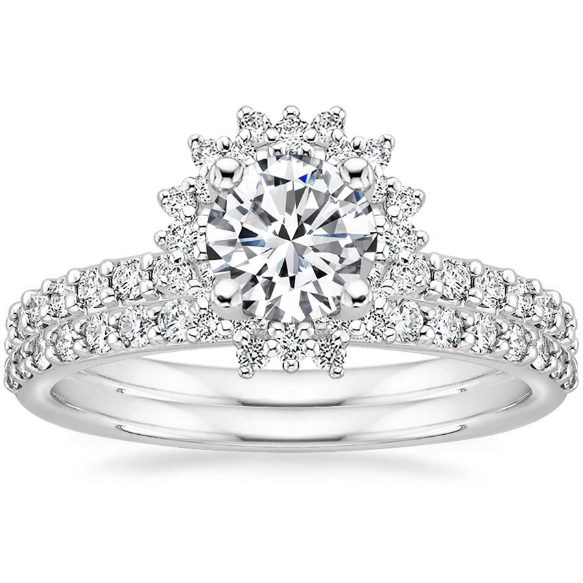 18K White Gold Twilight Diamond Ring with Petite Shared Prong Diamond Ring (1/4 ct. tw.)
