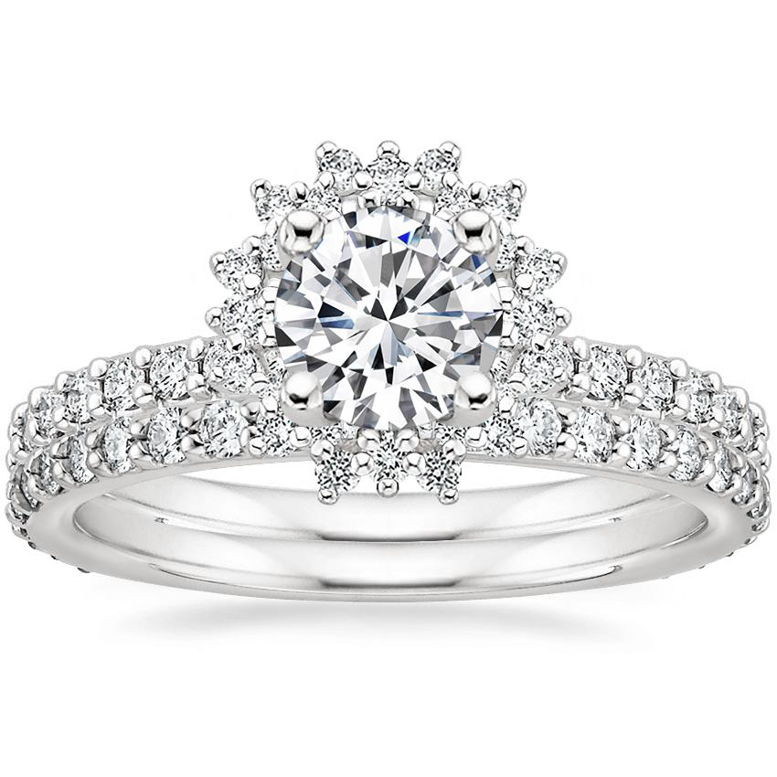 18K White Gold Twilight Diamond Ring with Petite Shared Prong Eternity Diamond Ring (1/2 ct. tw.)