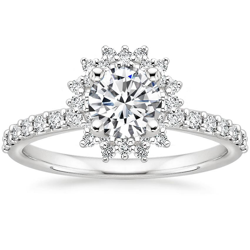 Round Starburst Halo Engagement Ring