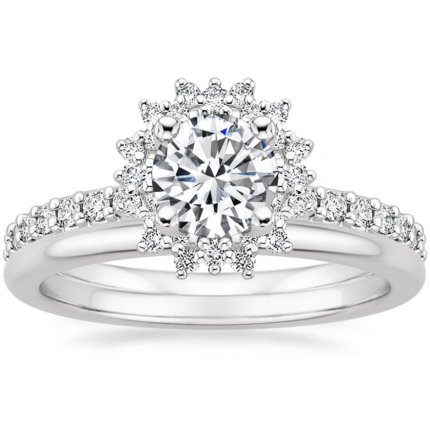 18K White Gold Twilight Diamond Ring with Petite Comfort Fit Wedding Ring