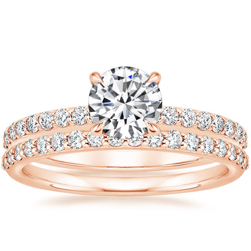 14K Rose Gold Luxe Elodie Diamond Ring (1/4 ct. tw.) with Petite Shared Prong Diamond Ring (1/4 ct. tw.)
