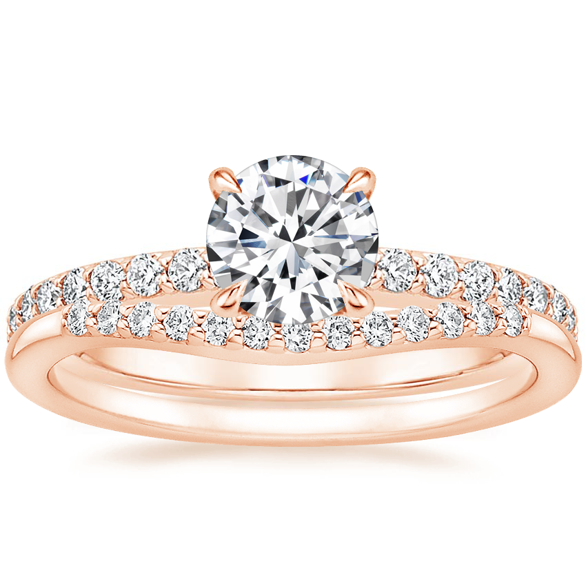 14K Rose Gold Luxe Elodie Diamond Ring (1/4 ct. tw.) with Petite Curved Diamond Ring (1/10 ct. tw.)