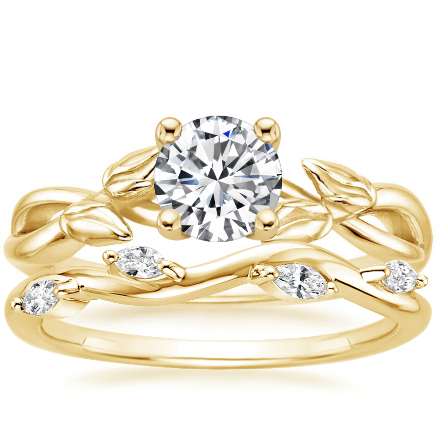 18K Yellow Gold Budding Willow Ring with Winding Willow Diamond Ring (1/8 ct. tw.)
