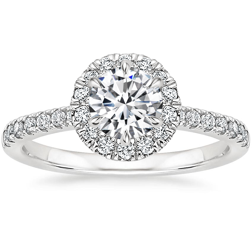 Round Six-Prong Halo Diamond Ring