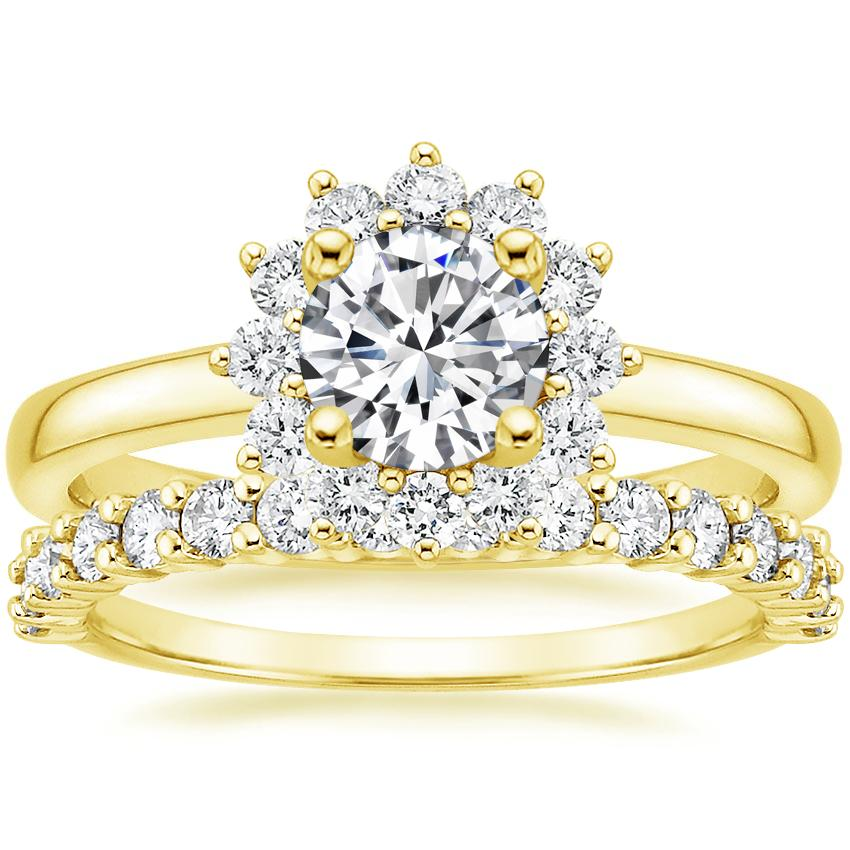 18K Yellow Gold Sunburst Diamond Ring (1/3 ct. tw.) with Shared Prong Diamond Ring (2/5 ct. tw.)