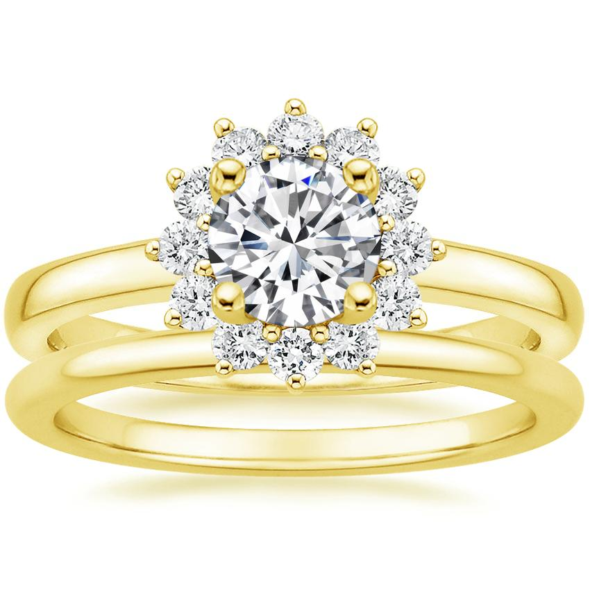 18K Yellow Gold Sunburst Diamond Ring (1/3 ct. tw.) with Petite Comfort Fit Wedding Ring