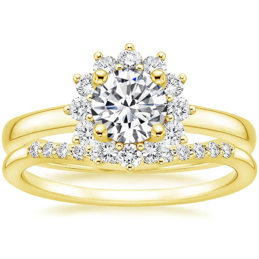 18K Yellow Gold Sunburst Diamond Ring (1/3 ct. tw.) with Petite Curved Diamond Ring