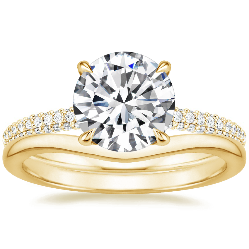18K Yellow Gold Valencia Diamond Ring (1/3 ct. tw.) with Petite Curved Wedding Ring