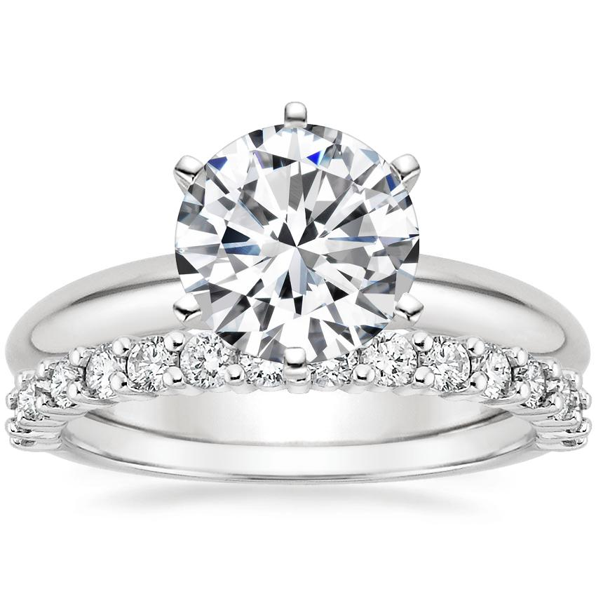 Platinum Six-Prong Classic Ring with Shared Prong Diamond Ring (2/5 ct. tw.)