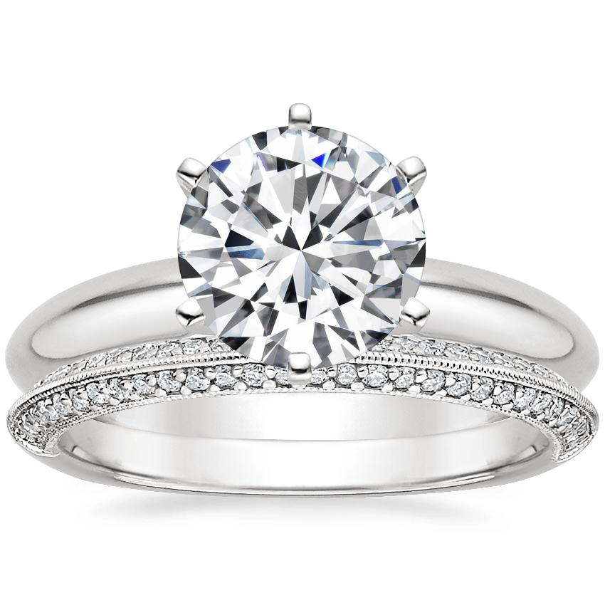 18K White Gold Six-Prong Classic Ring with Callista Diamond Ring