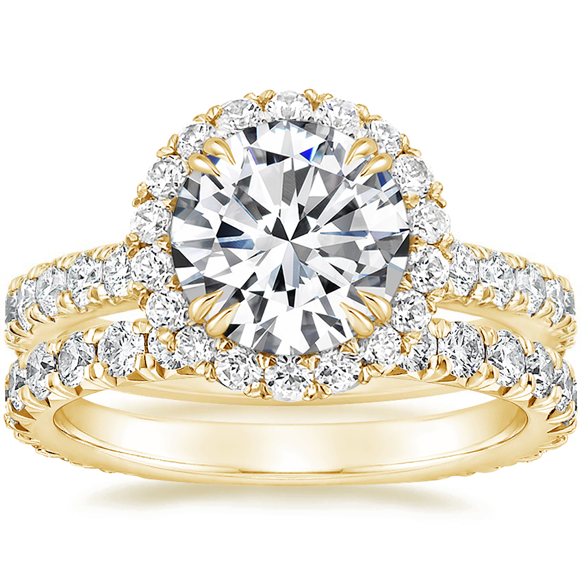 18K Yellow Gold Luxe Sienna Halo Diamond Ring (3/4 ct. tw.) with Signature Luxe Sienna Diamond Ring (5/8 ct. tw.)