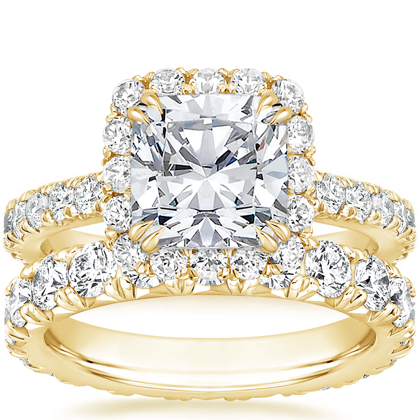18K Yellow Gold Luxe Sienna Halo Diamond Ring (3/4 ct. tw.) with French Pavé Eternity Diamond Ring (2 ct. tw.)