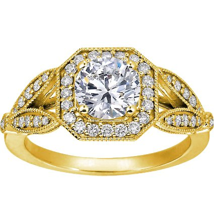 18K Yellow Gold Luxe Victorian Split Shank Halo Diamond Ring, top view