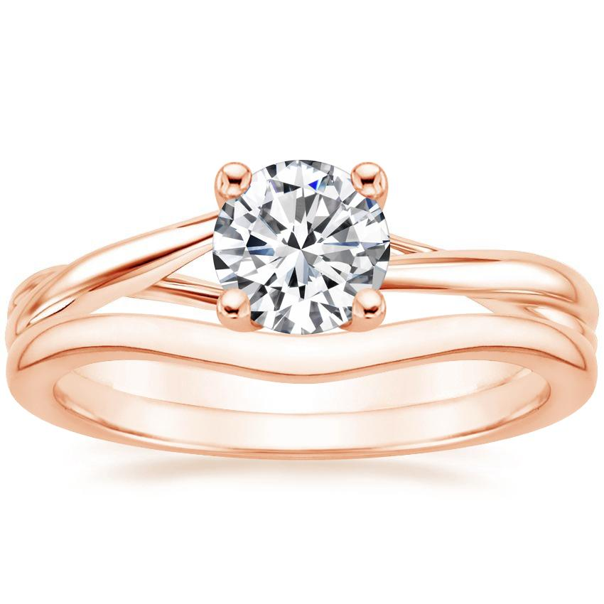 14K Rose Gold Grace Ring with Petite Curved Wedding Ring