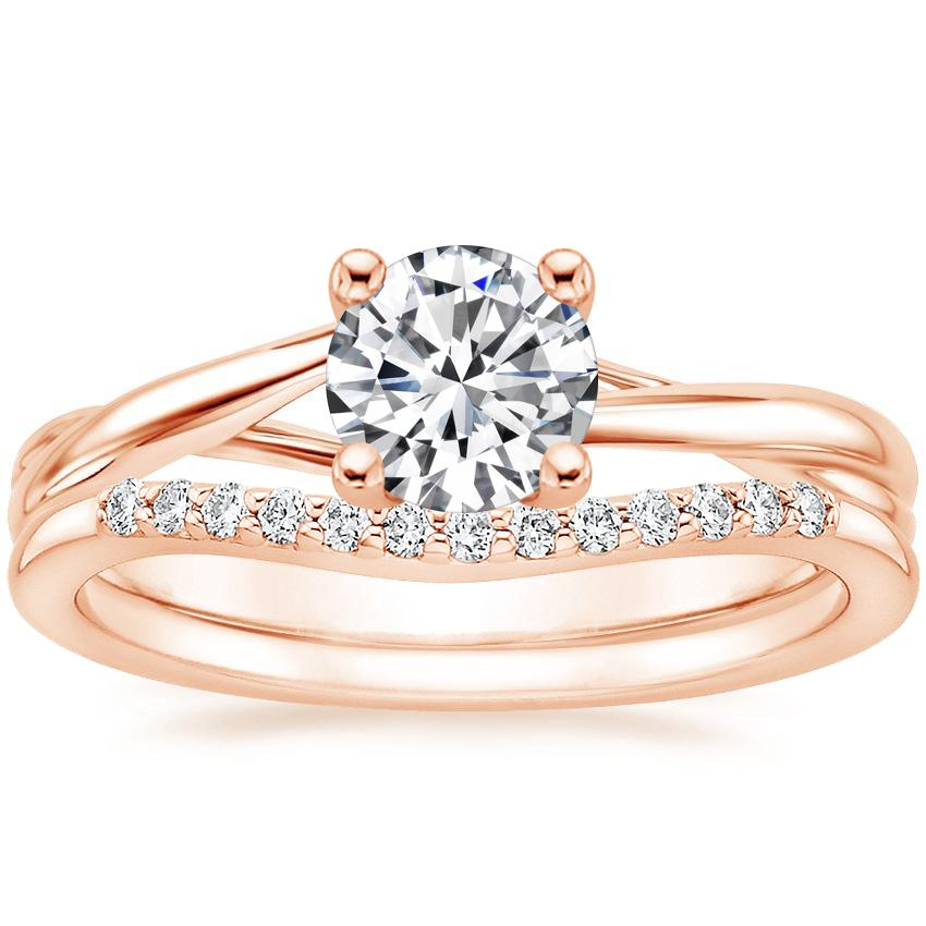 14K Rose Gold Grace Ring with Petite Curved Diamond Ring