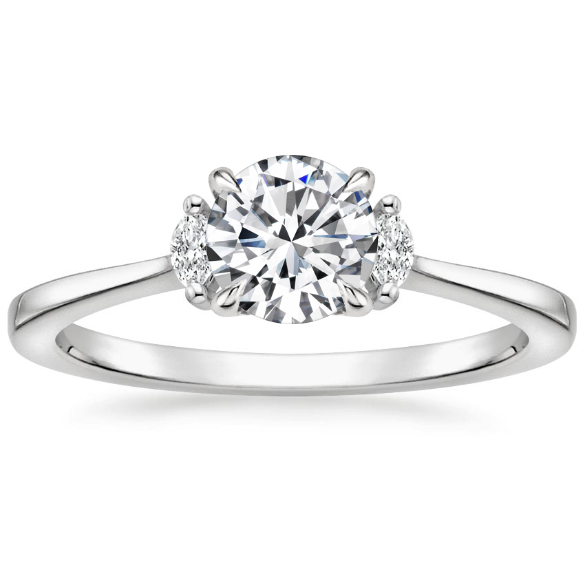 Round 18K White Gold Jolie Diamond Ring