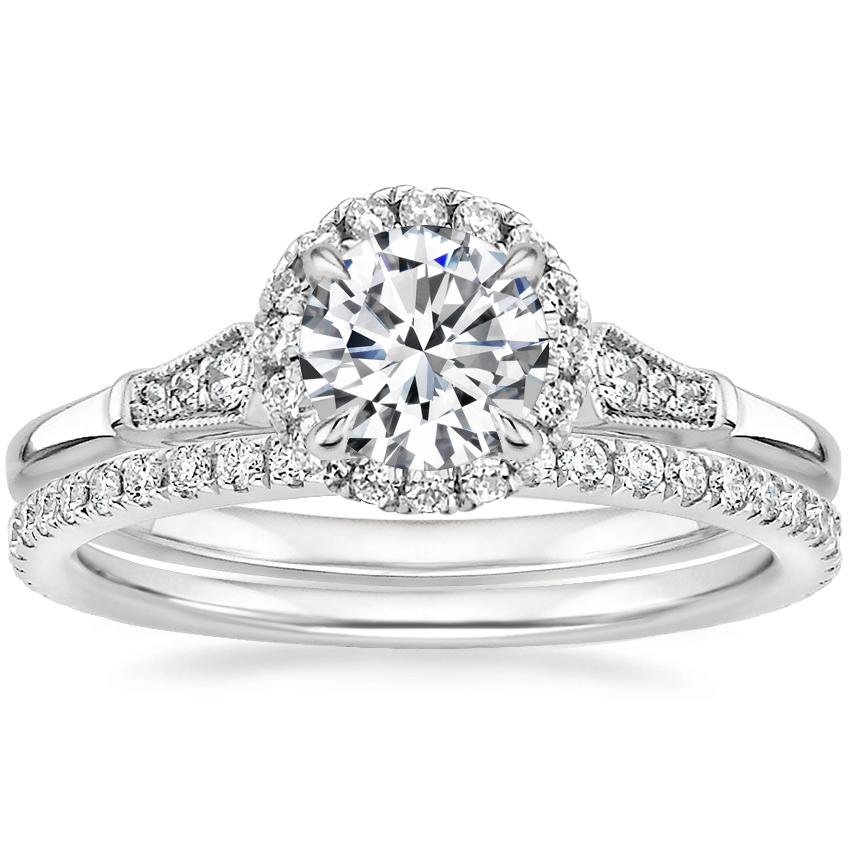 18K White Gold Linden Diamond Ring with Luxe Ballad Diamond Ring (1/4 ct. tw.)