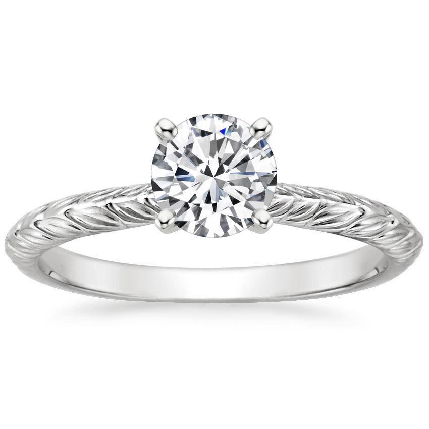 Round Leaf Engagement Ring