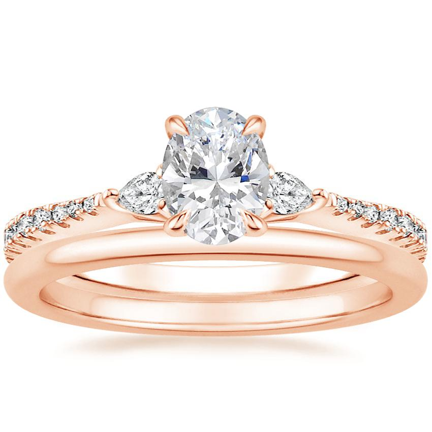 14K Rose Gold Luxe Aria Diamond Ring with Petite Comfort Fit Wedding Ring