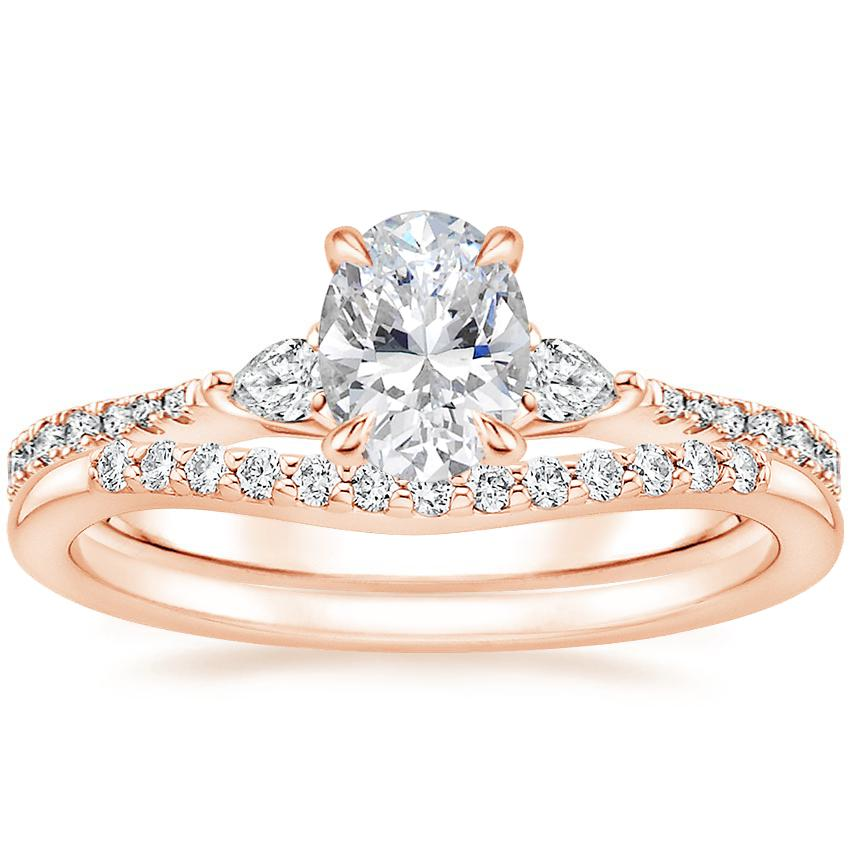 14K Rose Gold Luxe Aria Diamond Ring with Petite Curved Diamond Ring (1/10 ct. tw.)